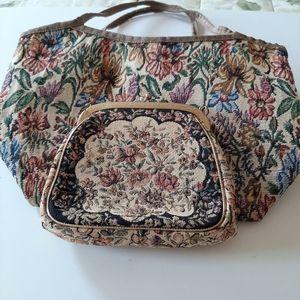 Vintage Tapestry Bag and Wallet Set
